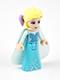 Minifig No: dp015  Name: Elsa - Sparkly Light Aqua Cape, Lavender Hair Bow