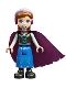 Minifig No: dp135  Name: Anna - Blue Skirt, Black Boots and Black Top, Light Aqua Sleeves and Windswept Magenta Cape