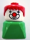Minifig No: dupfig017  Name: Duplo 2 x 2 x 2 Figure Brick Early, Clown on Green Base, Red Hair