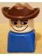 Minifig No: dupfig026  Name: Duplo 2 x 2 x 2 Figure Brick Early, Male on Blue Base, Fabuland Brown Western Hat
