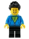 Minifig No: edu007  Name: Male with Black Spiked Hair, Dark Azure Hoodie, Lime Shirt, and Black Legs