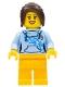 Minifig No: edu008  Name: Female with Long Dark Brown Hair, Bright Light Blue Hoodie, and Bright Light Orange Legs