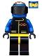 Minifig No: ext001  Name: Extreme Team - Blue, Blue Flame Helmet, White Bangs