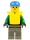 Minifig No: ext004  Name: Extreme Team - Green, Dark Gray Legs, Blue Cap, Life Jacket