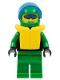 Minifig No: ext019  Name: Extreme Team - Green, Green Legs, Green Helmet, Life Jacket, Trans-Dark Blue Visor