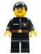Minifig No: firec020  Name: Fire - Flame Badge and Straight Line, Black Legs, Black Male Hair