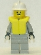 Minifig No: firec026  Name: Fire - Air Gauge and Pocket, Light Gray Legs, White Fire Helmet, Life Jacket