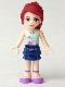 Minifig No: frnd005  Name: Friends Mia, Dark Blue Layered Skirt, Light Aqua Halter Neck Top