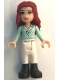 Minifig No: frnd025  Name: Friends Theresa, White Riding Pants, Light Aqua Long Sleeve Top with Collar