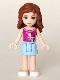 Minifig No: frnd040  Name: Friends Olivia, Bright Light Blue Skirt, Magenta Top