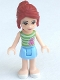 Minifig No: frnd045  Name: Friends Mia, Bright Light Blue Skirt, Green Top with White Stripes