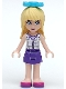 Minifig No: frnd064  Name: Friends Stephanie, Dark Purple Skirt, White Plaid Button Shirt, Bow