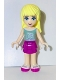 Minifig No: frnd065  Name: Friends Stephanie, Magenta Layered Skirt, Sand Green Top