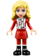 Minifig No: frnd089  Name: Friends Ewa, Red Skirt and Black Boots, Red and White Holiday Top with Scarf