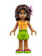 Minifig No: frnd094  Name: Friends Andrea, Lime Shorts, Bright Light Orange Top with Music Notes, Flower