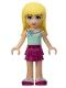 Minifig No: frnd127  Name: Friends Stephanie, Magenta Layered Skirt, Light Aqua Top with Flower