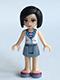 Minifig No: frnd128  Name: Friends Sandra, Sand Blue Skirt, White Vest over Striped Shirt