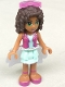 Minifig No: frnd145  Name: Friends Andrea, Light Aqua Layered Skirt, Magenta Vest Top, White Sequined Cloth Skirt, Sunglasses