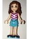 Minifig No: frnd179  Name: Friends Olivia, Medium Azure Layered Skirt, Magenta and White V-Striped Top and Medium Azure Necklace