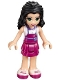 Minifig No: frnd183  Name: Friends Emma, Magenta Layered Skirt, White Top with Magenta Apron