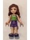 Minifig No: frnd187  Name: Friends Olivia, Dark Purple Shorts, Lime Halter Top with Dark Green Spots Pattern