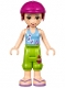 Minifig No: frnd189  Name: Friends Mia, Lime Cropped Trousers, Medium Blue Top with 3 Butterflies, Helmet