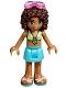 Minifig No: frnd197  Name: Friends Andrea, Medium Azure Skirt, Lime Swimsuit Top, Sunglasses