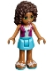 Minifig No: frnd198  Name: Friends Andrea, Medium Azure Skirt, Magenta Vest Top