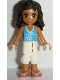 Minifig No: frnd200  Name: Friends Kate, White Cropped Trousers with Purple Flower, Medium Azure Top with White Trim