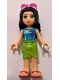 Minifig No: frnd209  Name: Friends Emma, Lime Wrap Skirt, Medium Azure Top with Palm Tree Pattern, Trans-Dark Pink Sunglasses
