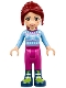 Minifig No: frnd212  Name: Friends Mia, Magenta Trousers, Bright Light Blue Snowflake Sweater Top