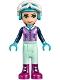 Minifig No: frnd216  Name: Friends Emma, Light Aqua Trousers, Medium Lavender Ski Vest, Helmet, Goggles