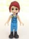 Minifig No: frnd224  Name: Friends Mia, Medium Blue Overalls, Striped Shirt, Dark Red Hair