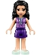 Minifig No: frnd248  Name: Friends Emma, Dark Purple Skirt, Medium Lavender Top, Light Aqua Shoes