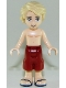 Minifig No: frnd265  Name: Friends Mason, Dark Red Shorts, Shirtless