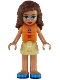 Minifig No: frnd266  Name: Friends Olivia, Bright Light Yellow Skirt, Dark Pink and Dark Azure Swimsuit Top, Life Jacket