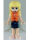 Minifig No: frnd267  Name: Friends Stephanie, Dark Blue Layered Skirt, Magenta and Medium Blue Swimsuit Top, Life Jacket