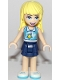 Minifig No: frnd276  Name: Friends Stephanie, Dark Blue Layered Skirt, Medium Azure and White Top