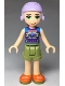 Minifig No: frnd291  Name: Friends Mia, Olive Green Shorts, Dark Purple Top with Diamonds and Triangles, Lavender Ski Helmet with Red Hair
