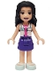 Minifig No: frnd302  Name: Friends Emma, Dark Purple Skirt, White Blouse with ID Card