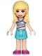 Minifig No: frnd314  Name: Friends Stephanie, Medium Azure Skirt, Striped Top
