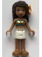Minifig No: frnd331  Name: Friends Andrea, White Skirt, Dark Turquoise and Gold Swimsuit Tube Top, Flower