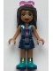 Minifig No: frnd338  Name: Friends Andrea, Dark Blue Skirt, Shiny Blue Vest over Magenta Top, Sunglasses