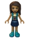 Minifig No: frnd348  Name: Friends Andrea, Dark Blue Skirt, Dark Turquoise Vest and Music Notes Necklace Top