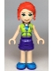Minifig No: frnd349  Name: Friends Mia, Purple Shorts, Lime Jacket Top, Red Hair