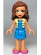 Minifig No: frnd351  Name: Friends Olivia, Dark Azure Skirt and Top with Bright Light Yellow Vest, Bright Pink Shoes