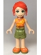 Minifig No: frnd352  Name: Friends Mia, Olive Green Shorts, Orange Top with Lightning Bolts