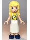 Minifig No: frnd355  Name: Friends Stephanie, Yellow Shirt, White Apron with Yellow Banana, Dark Blue Shoes