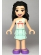 Minifig No: frnd360  Name: Friends Emma, Light Aqua Layered Skirt, White and Light Aqua Top with Coral Flamingo Birds