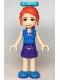 Minifig No: frnd363  Name: Friends Mia, Dark Purple Shorts, Dark Azure Plaid Shirt, Red Ponytail, Bow
